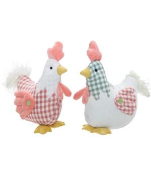 2 Asstd Fabric Sitting Chicken