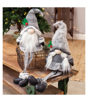 2 Asstd Lg Dangle Leg Mr & Mrs Santa Gnome