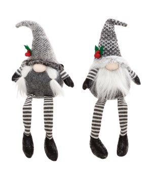 2 Asstd Sm Dangle Leg Mr & Mrs Santa Gnome