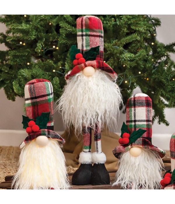 Standing Plaid Santa Gnome w/LED Light