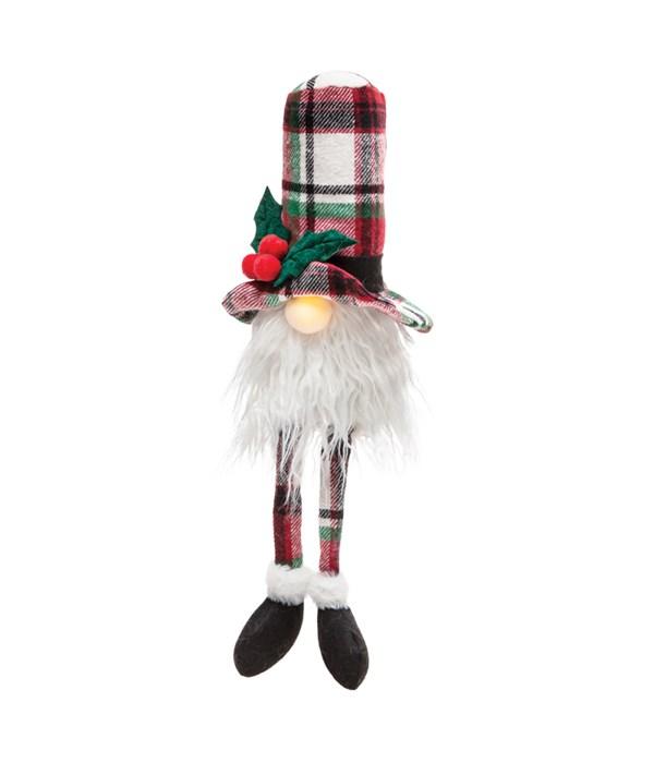 Lg Dangle Leg Plaid Santa Gnome w/LED Light