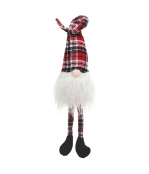 Dangle Leg Red/Black Plaid Santa Gnome