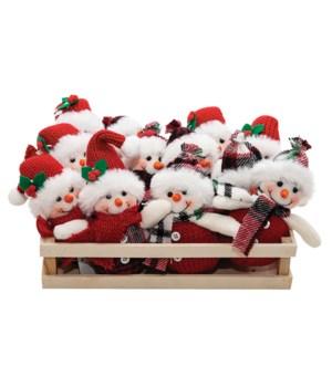 12 pc Asstd Snowman Ornament w/Crate