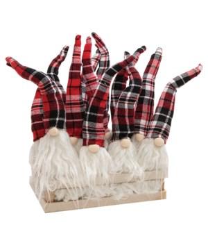 12 pc Red/Black Plaid Santa Gnome Ornament w/Crate