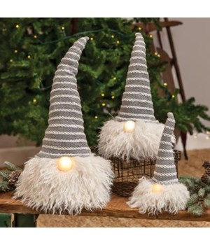 Med Grey Hat Santa Gnome w/LED Light Nose