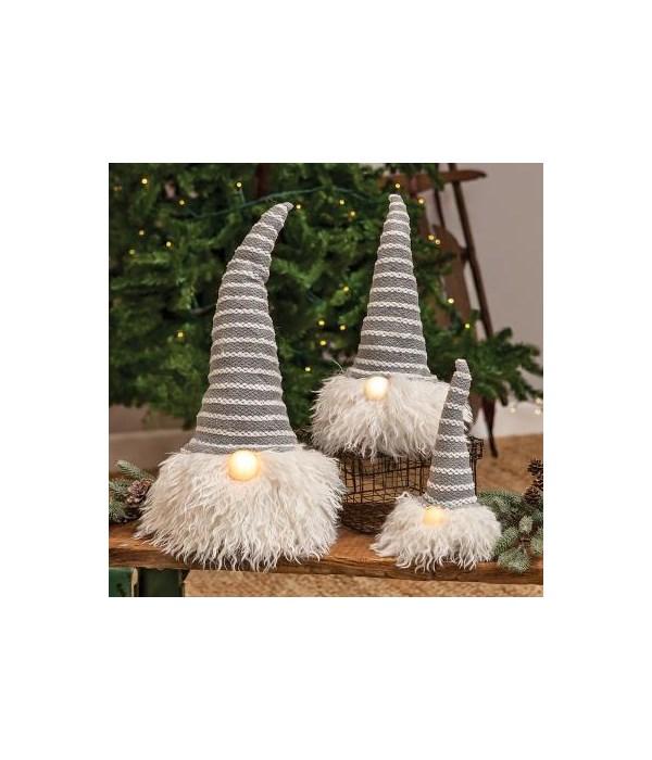 Med Grey Hat Santa Gnome w/LED Light Nose