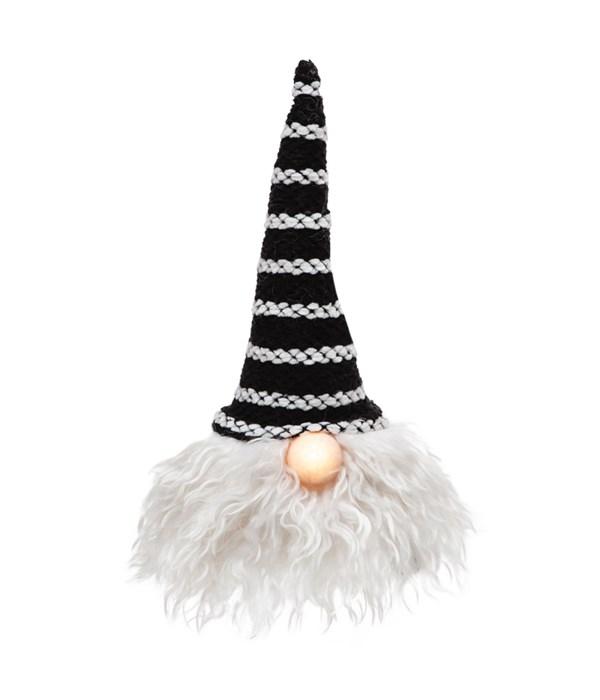Sm Black Hat Santa Gnome w/LED Light Nose
