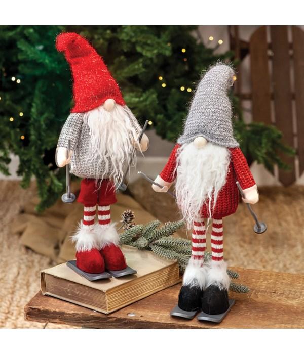 Skiing Grey Hat Santa Gnome