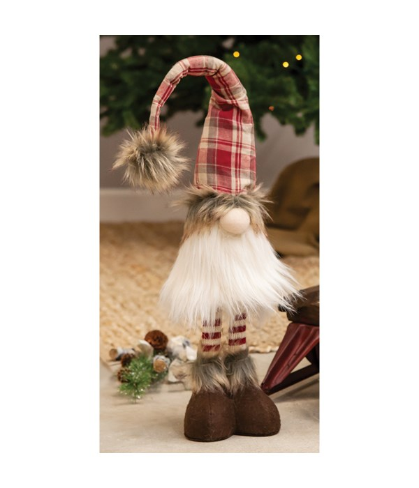 Standing Red Plaid Santa Gnome