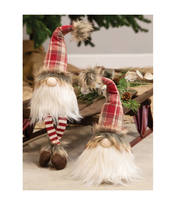 Sitting Red Plaid Santa Gnome