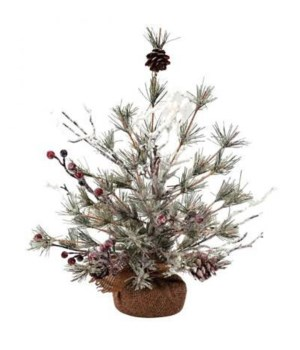Sm Frosted Tree w/Pinecone & Red Berry