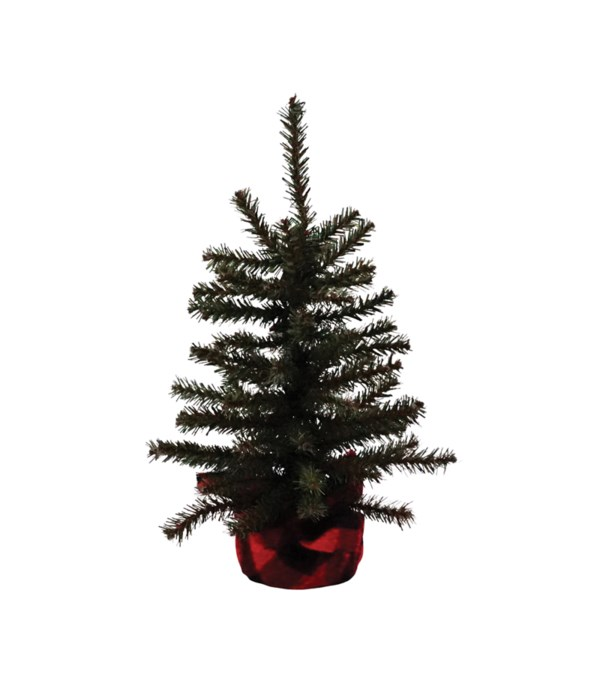 Lg Pine Tree w/Red/Black Plaid Base