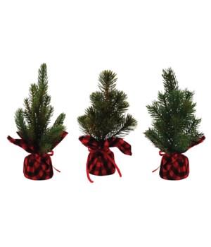 3 Asst Sm Pine Tree w/Red/Black Plaid Base