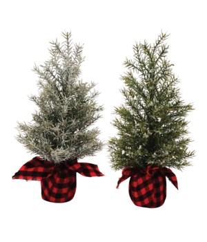 2 Asst Lg Pine Tree w/Red/Black Plaid Base