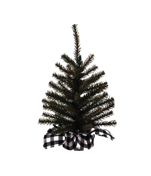 Lg Pine Tree w/White/Black Plaid Base