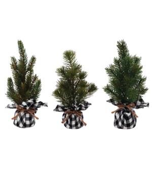 3 Asst Sm Pine Tree w/White/Black Plaid Base
