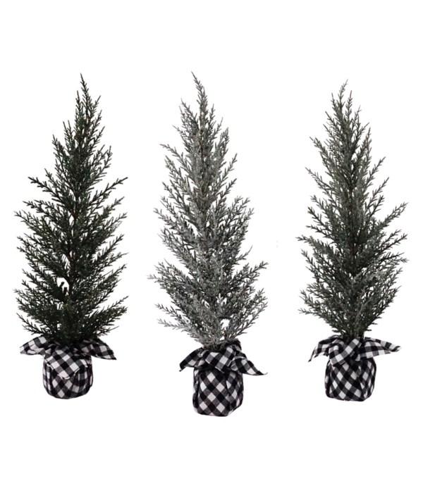 3 Asst Lg Pine Tree w/White/Black Plaid Base