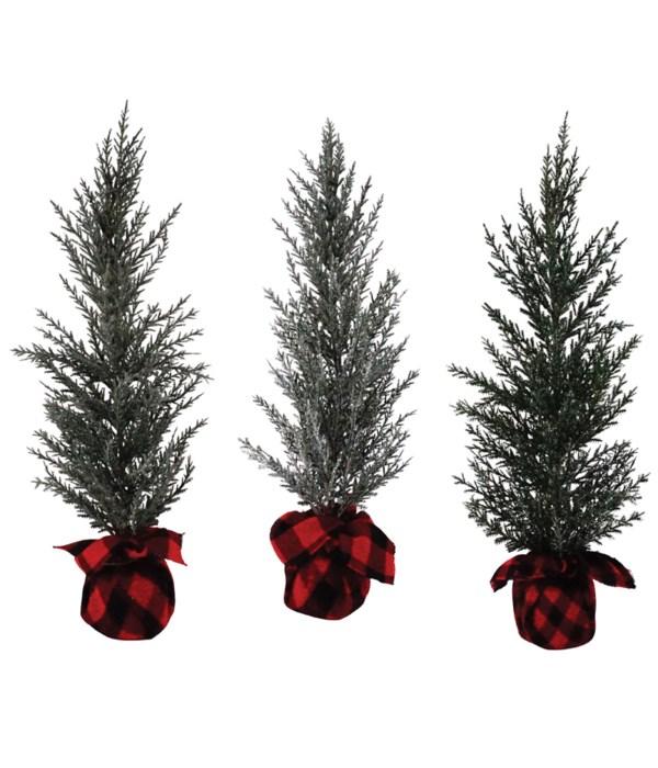 3 Asst Lg Pine Tree w/Red/Black Plaid Base