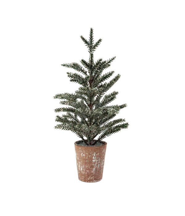 Lg Frosted Pine Tree w/LED Light