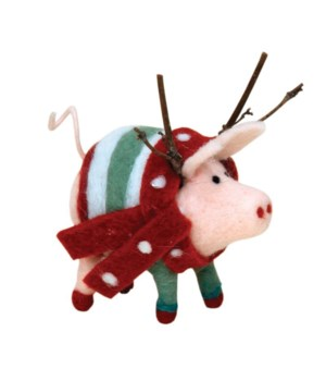 Felted Pig w/Striped Sweater Ornament