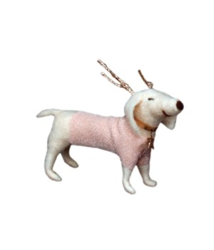 Felted Glamour Pup w/Antlers Ornament