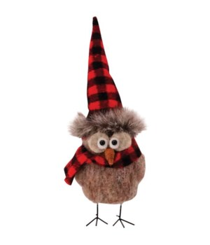 Standing Felted Owl w/Red/Black Plaid Hat Ornament