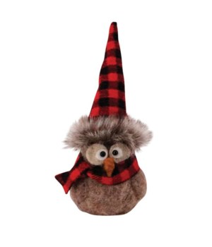 Sitting Felted Owl w/Red/Black Plaid Hat Ornament