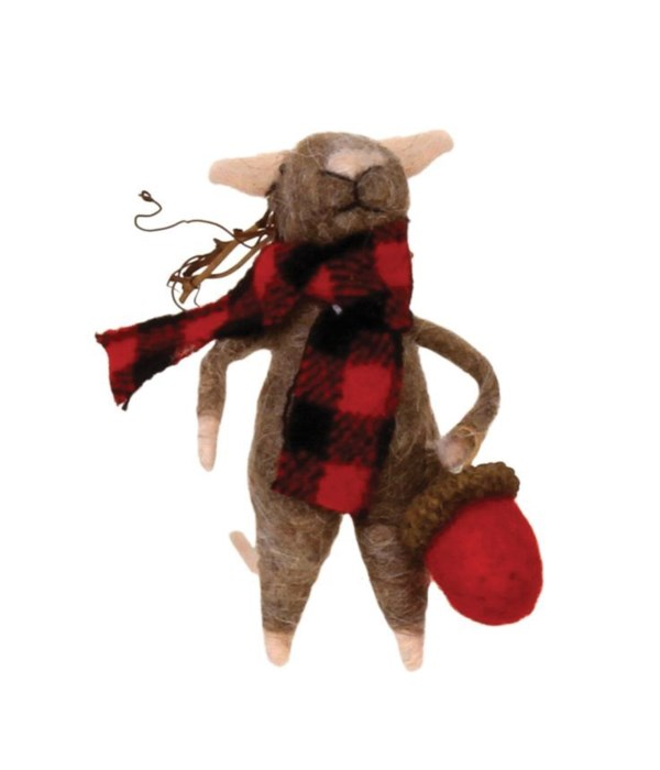 Felted Mouse w/Red/Black Plaid Scarf Ornament