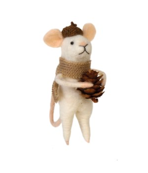 Felted Mouse w/Beige Scarf Ornament