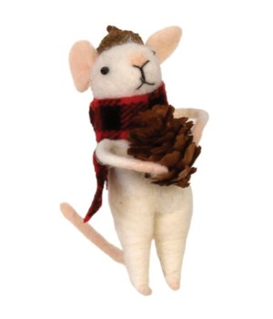 Felted Mouse w/Red/Black Plaid Scarf & Pinecone Ornament