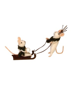 Felted Mice w/Green Scarf & Sled Ornament
