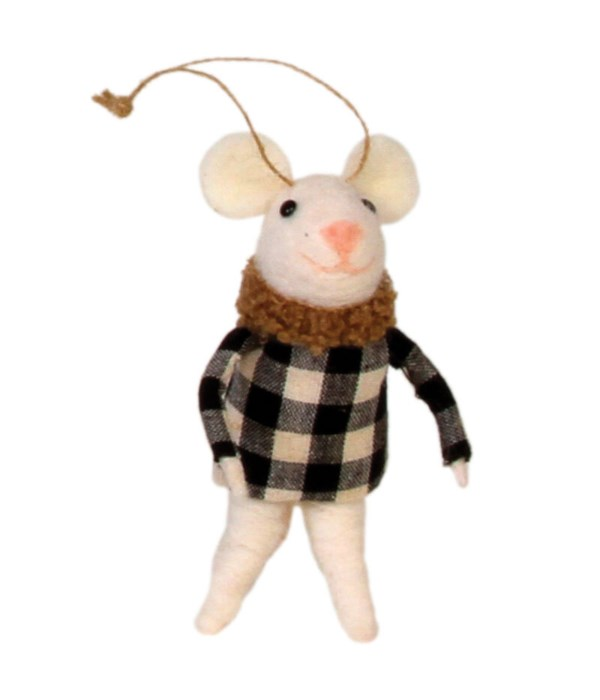 Felted Mouse w/Black & White Jacket Ornament