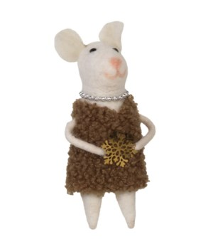Felted Mrs Mouse w/Pearl Necklace Ornament