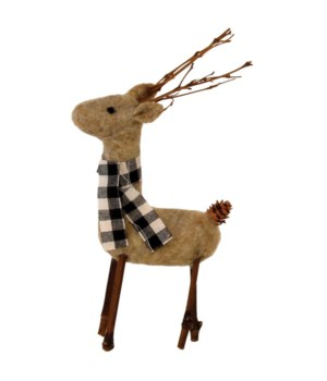 Brown Felted Reindeer w/Black/White Plaid Scarf Ornament