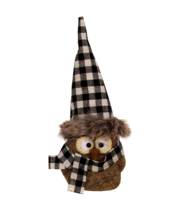 Sitting Felted Owl w/Black/White Hat Ornament