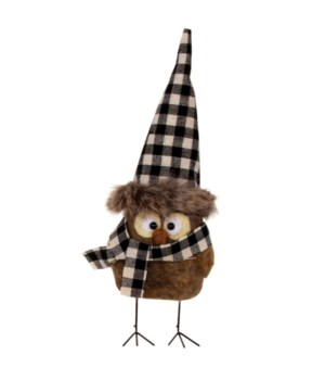 Standing Felted  Owl w/Black/White Plaid Hat Ornament