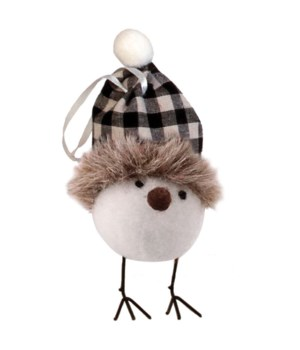 Felted Bird w/Black/White Plaid Hat Ornament