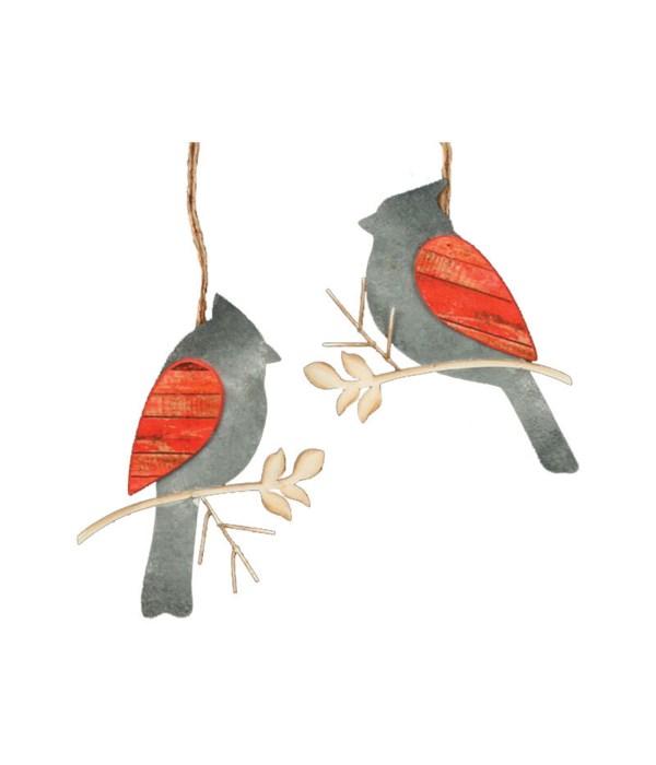 2 Asstd Galvanized Cardinal Ornament