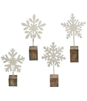 4 Asstd Sm White Glitter Snowflake Photo Clip