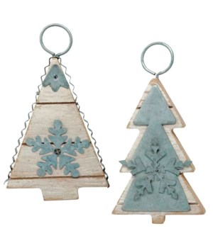 2 Asstd Galvanized Tree Ornament