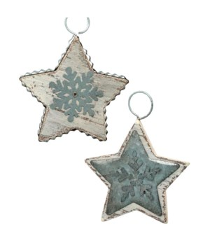 2 Asst Galvanized Star Onrmament