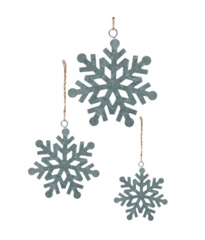 Lg Galvanized Snowflake Ornament