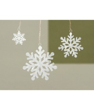 Med Galvanized Snowflake Ornament