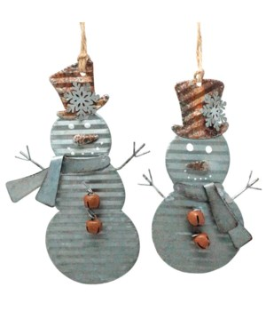 2 Asst Galvanized Snowman Ornament