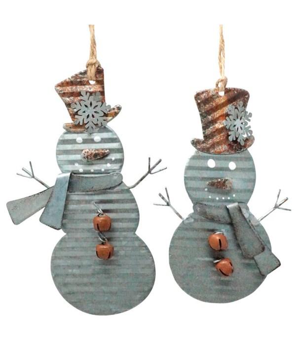 2 Asst Galvanized Snowman Ornament