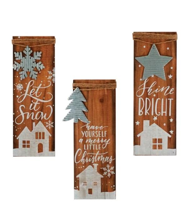 3 Asstd Wood/Galvanized Christmas Ornament