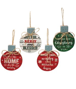 4 Asst Round Wood/Galvanized Christmas Ornament