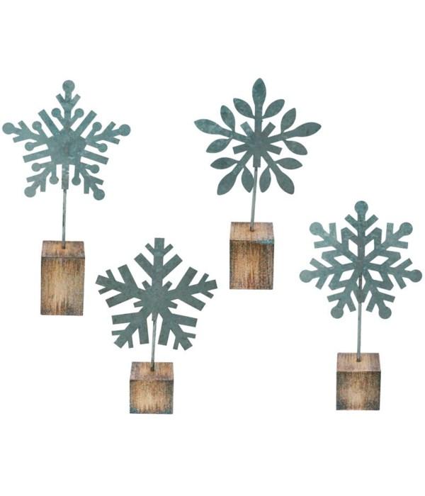 4 Asstd Lg Galvanized Snowflake Photo Clip