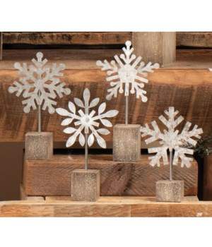 4 Asstd Sm Galvanized Snowflake Photo Clip