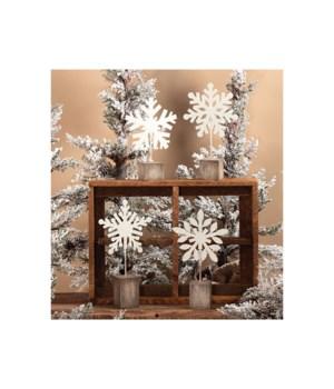 4 Asstd Lg White Glitter Snowflake Photo Clip